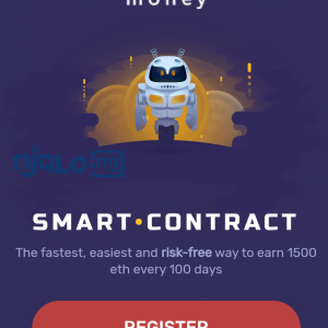 "Money bills itself as a ""smart contract"" that provides the fastest, easiest and risk-free way to earn 1500 eth every 100 days."