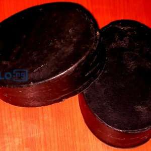 Activated charcoal soap for deep cleansing and exfoliation.