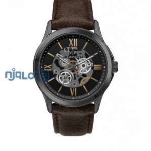 TIMEX VIEWPOINT MEN'S BLACK SKELETON DIAL OLIVE LEATHER WATCH