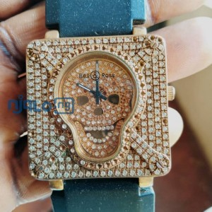 Bell & Ross Diamond Bezel Men's Watch BR01-SKULL-SK-LGD.